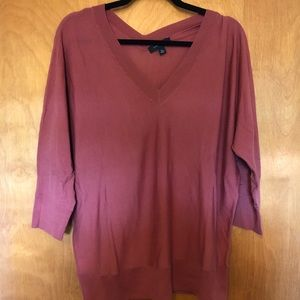 Rose Double V-Neck Ann Taylor Sweater Size XL